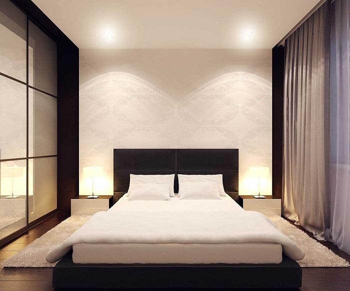 Спальня в японском стиле выглядит очень современно и привлекательно.