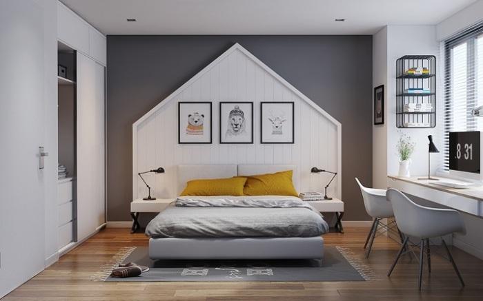 Спальная комната, оформленная в холодных тонах, которые помогут подчеркнуть минималистское настроение в помещении.