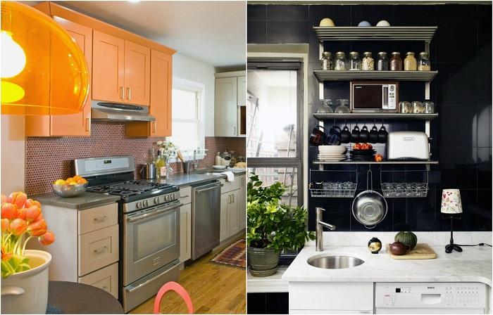Великолепные идеи экономии кухонного пространства в малогабаритных помещениях.