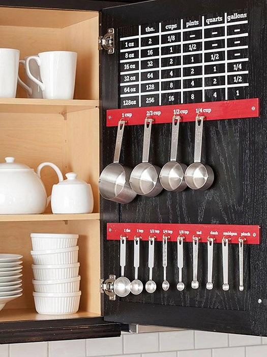 Дверцы классических кухонных шкафов можно использовать для хранения мерной посуды.