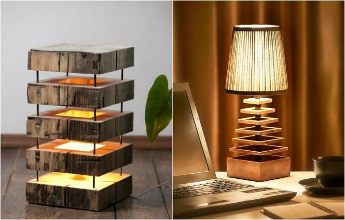 Креативные светильники из натурального дерева.
