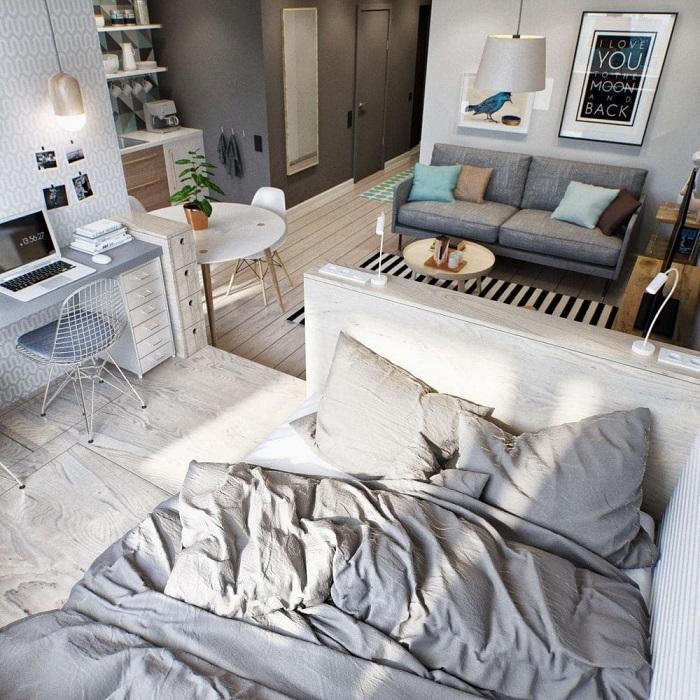 Однокомнатная квартира, в которой удачно и эргономично расположились три функциональные зоны.
