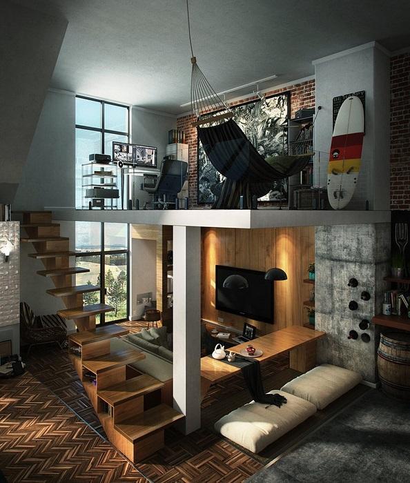 Современный молодёжный проект двухэтажных апартаментов в стиле лофт.