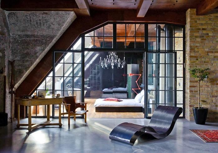 Объединение офиса и спальни — удачный и современный вариант увеличения полезной площади.