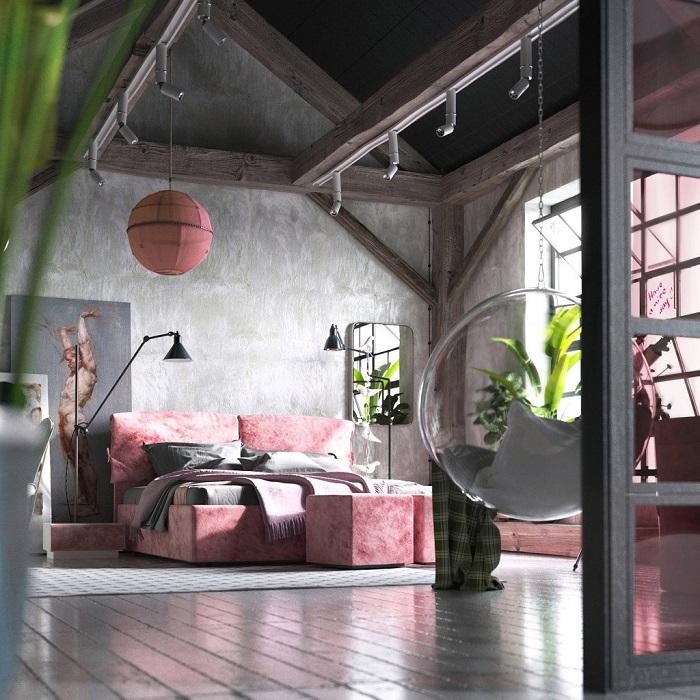 Просторная спальня в стиле лофт, в которой отлично сочетаются стены, потолок и полы.