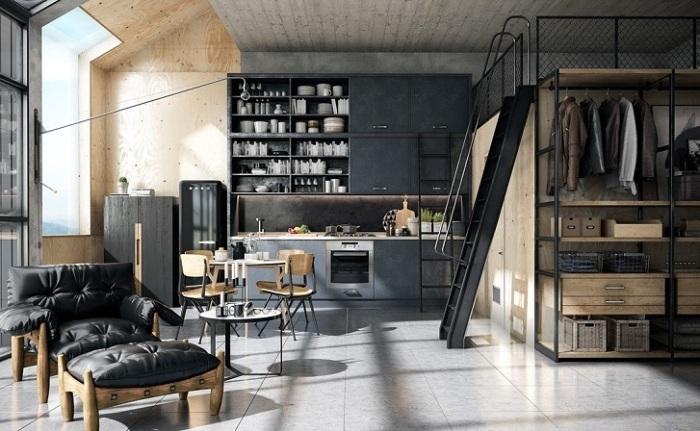 Шкаф со спальным местом в стиле лофт - подходящее решение для установки в просторной студии с высокими потолками.