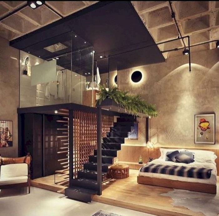 Оригинальная идея для тех, кто мечтает об эксклюзивной спальной комнате в стиле лофт.