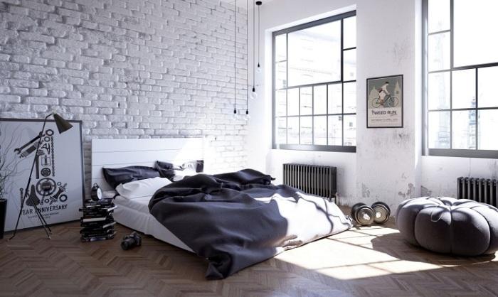 Богемный Нью-Йоркский стиль в интерьере спальни, в которой можно укрыться от городской суеты и проблем.