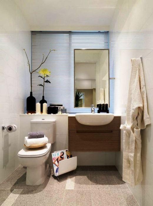 Дизайн ванной комнаты в бежевых оттенках гарантирует создание атмосферы гармонии и спокойствия.