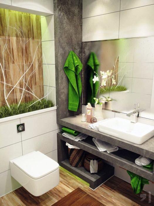 Интерьер малогабаритной ванной комнаты в экостиле.