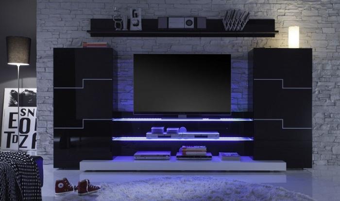 Современная модульная стенка в стиле хай-тек, которая идеально впишется практически в любой интерьер.