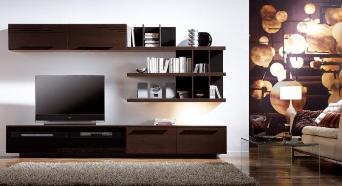Простая, но современная дизайнерская модульная конструкция под телевизор в интерьере гостиной комнаты.