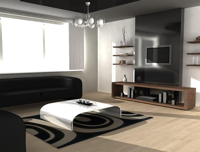 Гипсокартонная конструкция серого цвета, которая позволяет выделить зону для просмотра телевизора.