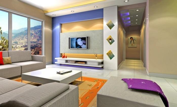 Для того, чтобы разнообразить интерьер и выделать зону для просмотра телевизора, достаточно использовать яркие цвета и оттенки.