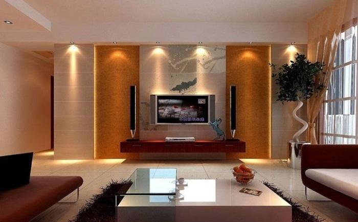 Ещё один яркий пример того, как можно выделить зону для просмотра телевизора.