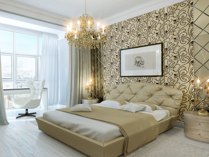 Современная спальня в аристократическом стиле, представляющая собой идеальное отражение безупречного вкуса, роскоши и комфорта.