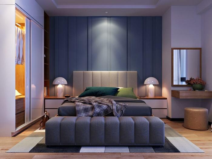 Синие и фиолетовые оттенки в спальне – идеальный выбор для тех, кто предпочитает атмосферу свежести и лёгкости.