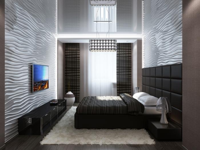 Спальня с волнистыми стенами, которая является очень важной частью квартиры.