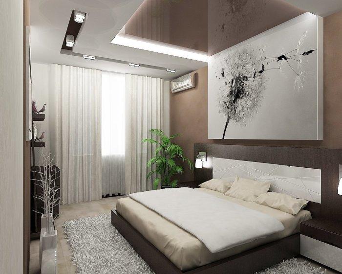 Интерьер спальной комнаты, который олицетворяет атмосферу покоя и уюта.