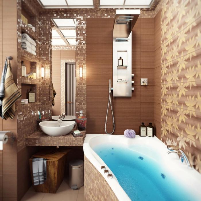 Необычная ванная комната в песочных цветах и оттенках, которая позволит окунуться в средиземноморскую атмосферу.