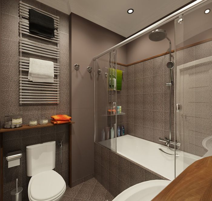 Ванная комната в сером цвете великолепно сочетает в себе деревянные поверхности и белые предметы сантехники.