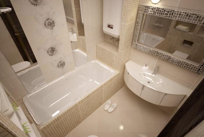 Маленькая керамическая плитка для малогабаритной ванной комнаты – лучший материал для отделки помещения.