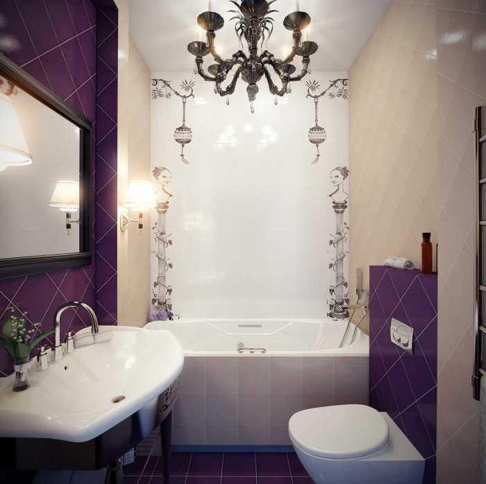 Применение фиолетового акцента позволит добавить выразительности общему виду ванной комнаты.