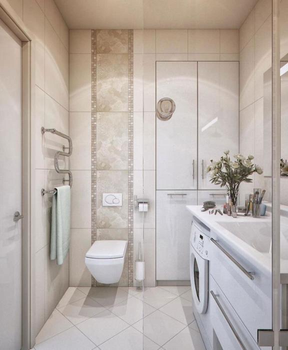 Для визуального увеличения пространства малогабаритной ванной комнаты можно использовать классические светлые оттенки.