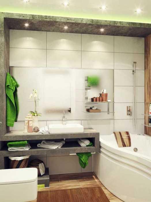 Натуральные материалы и нейтральная цветовая гамма с преобладанием зеленой палитры в интерьере ванной комнаты.