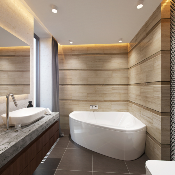 Ещё один пример небольшой ванной комнаты, которая выполнена в минималистском стиле.