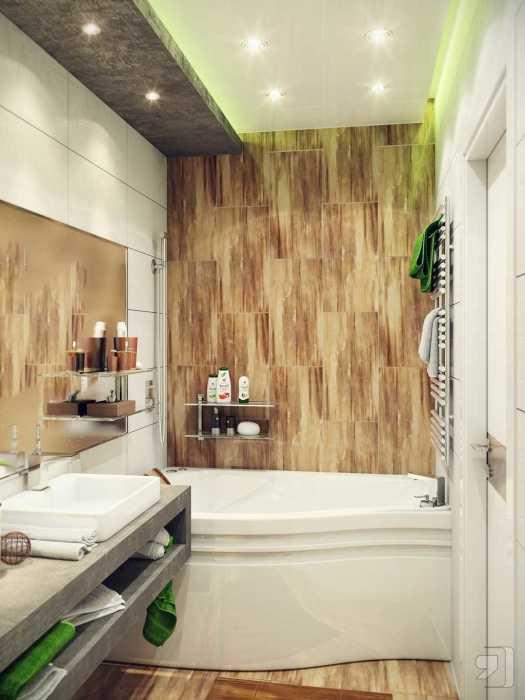 Керамическая плитка под дерево подарит тепло и уют небольшой ванной комнате.