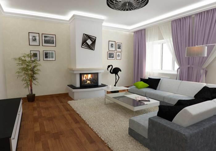 Электрический камин отлично впишется в современный дизайн гостиной комнаты.