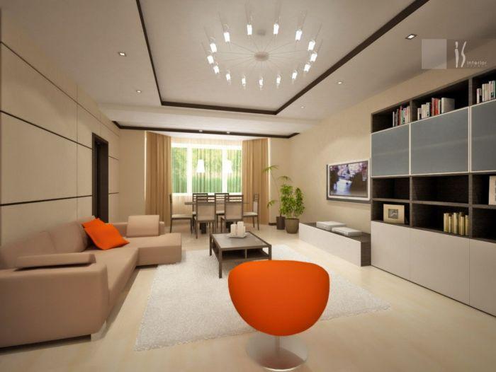 Главным трендом в оформлении интерьера комнаты для приёма гостей является наличие ярких акцентных элементов.