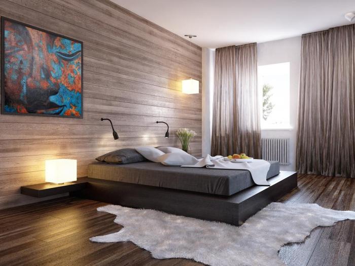 Натуральная древесина в спальне – прекрасная возможность спать в экологически чистом помещении.