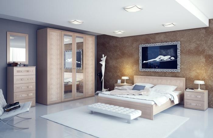 Мраморная стена в интерьере спальной комнаты прекрасно впишется в любое выбранное стилевое направление.