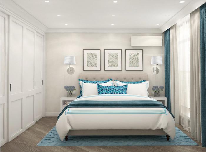 Бирюзовые оттенки в интерьере спальной комнаты хорошо сочетаются с белым цветом.