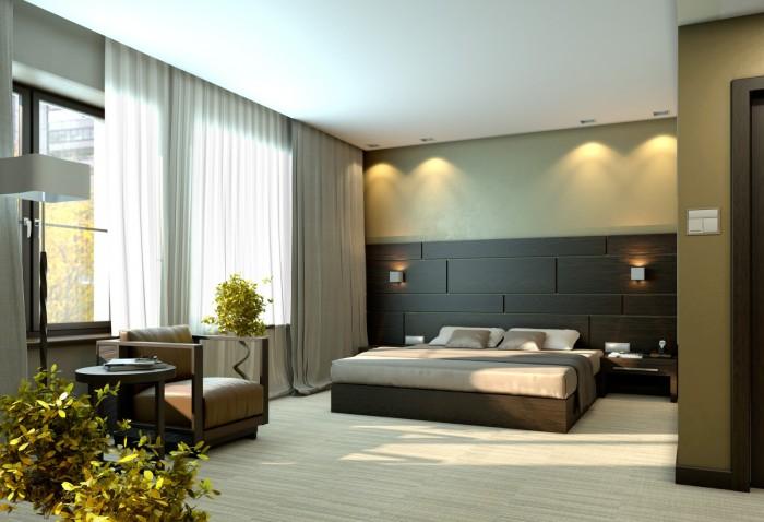 Спальню очень часто оформляют в бежевых и коричневых оттенках, что придаёт ей особый стиль.