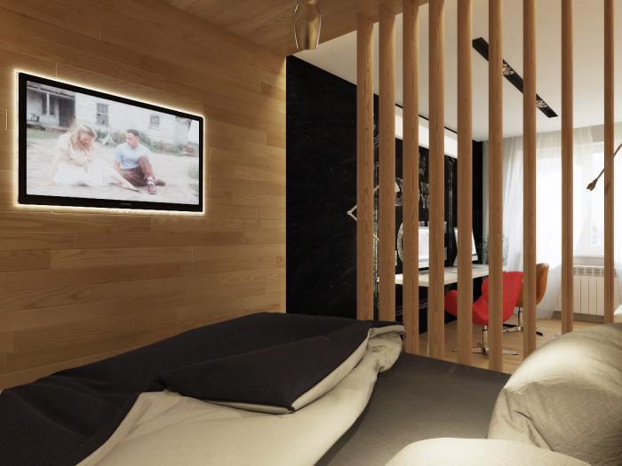 С помощью перегородки можно минимально трансформировать пространство без кардинального вмешательства в конфигурацию помещения.