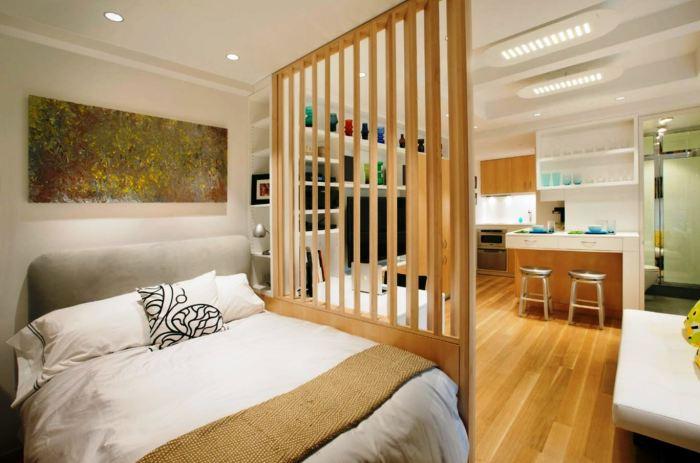 Интересный вариант деревянного барбера в спальной комнате, которая подарит дополнительный уют и комфорт.