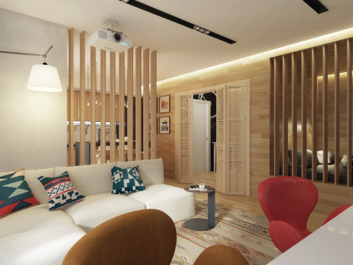 Традиционные деревянные перегородки позволяют создать уютную и функциональную планировку в современной студии.