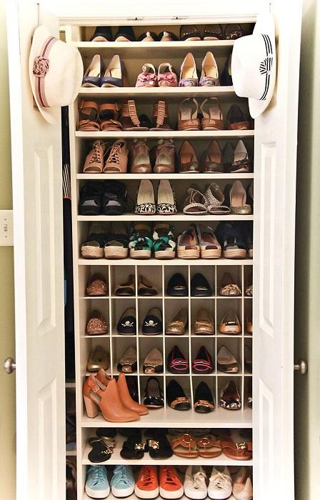 Оригинальная идея для хранения обуви, которая поможет сэкономить свободное пространство.