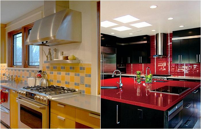 Красочные идеи для оформления кухонных фартуков.
