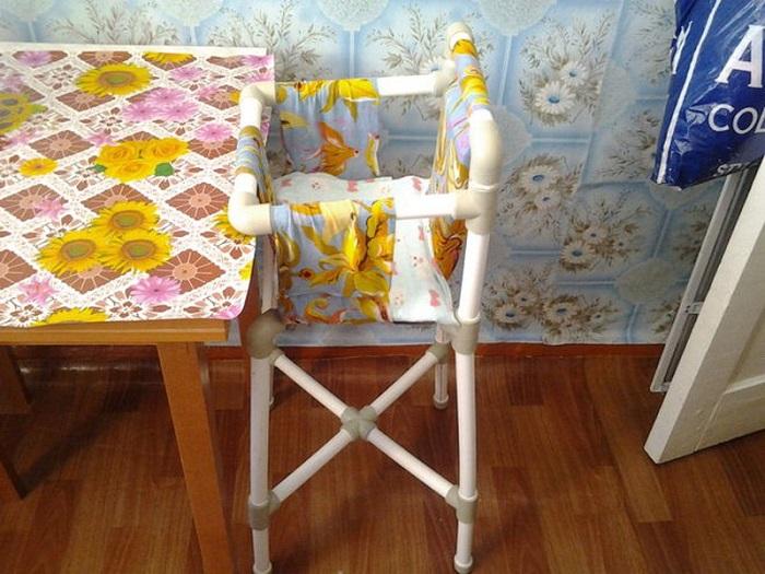 Детский стул из обрезков поливинилхлоридных труб.