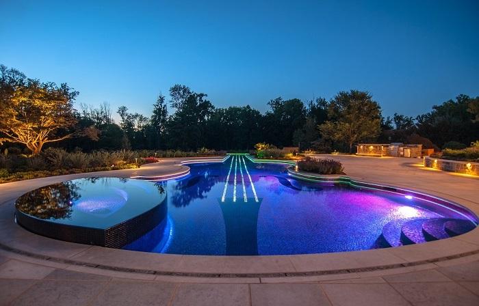 Декоративные кустарники - идеальное решение для украшения бассейна на территории садового участка.