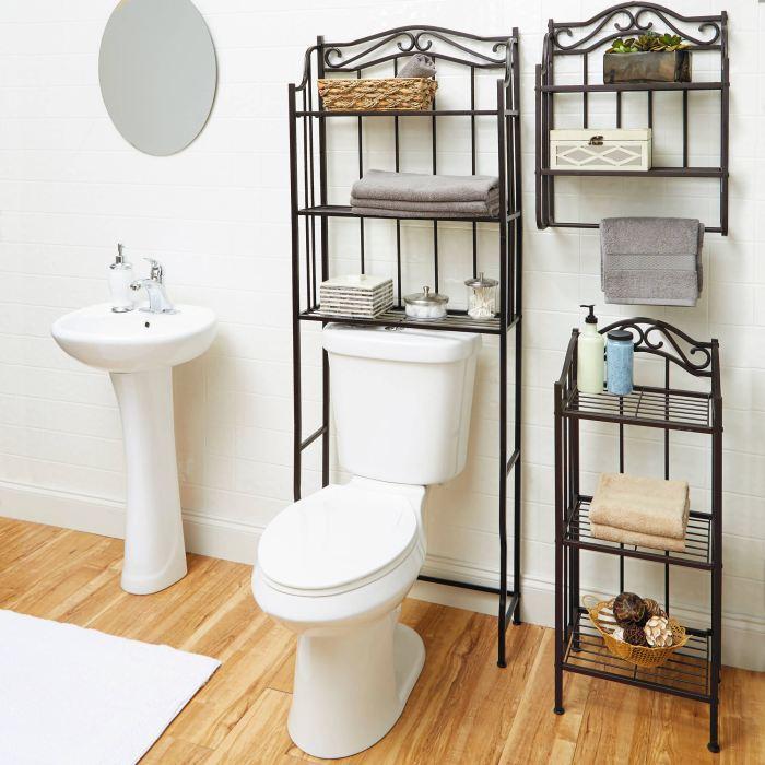 Оригинальные полки и стеллажи из кованого металла, которые станут настоящими украшениям ванной комнаты.
