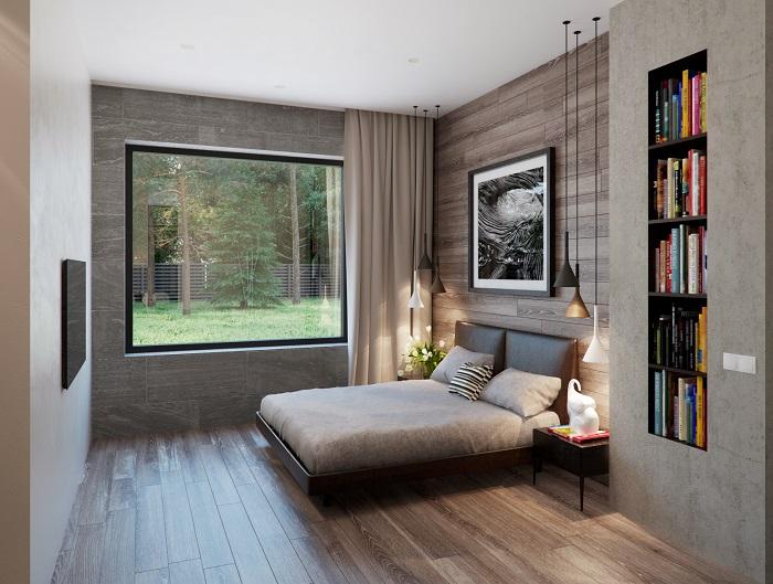 Серое помещение, дизайн которого настраивает на спокойный и умиротворённый лад.