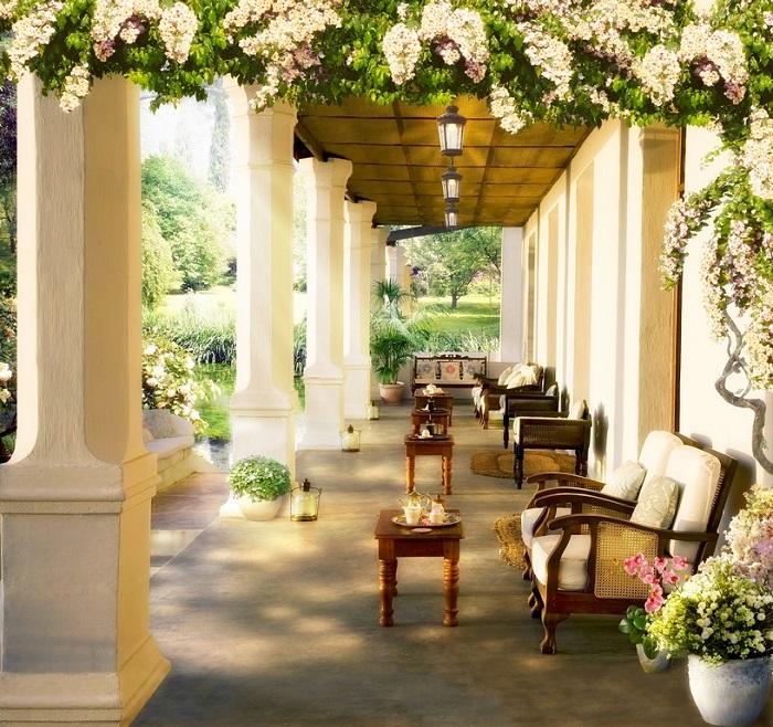 Терраса в традиционном греческом стиле является воплощением гармонии, просты и изысканности.