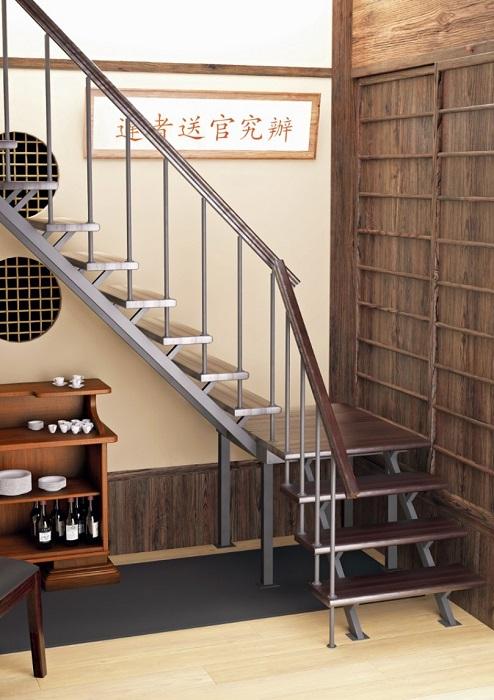 Лаконичный стиль в современном дизайне лестницы на второй этаж.