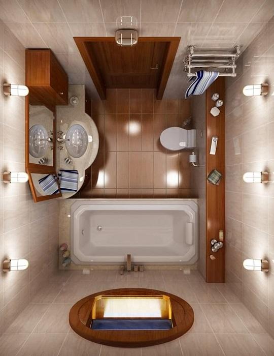 Стильная ванная комната с элементами декоративного дерева.