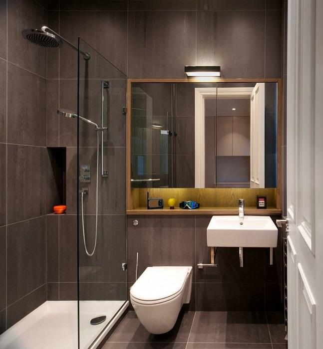Мужская ванная комната в строгом стиле.